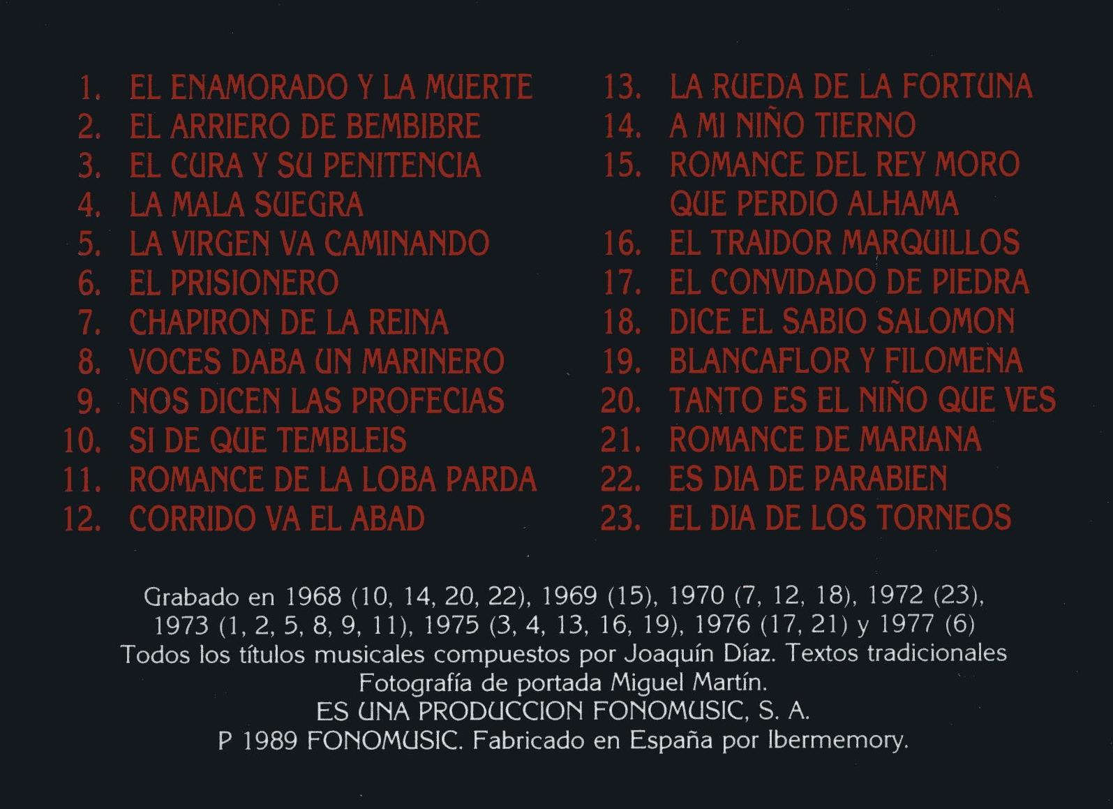 Joaquín Díaz - Canciones y Romances compuestos por Joaquín Díaz