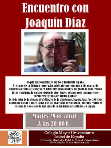 Encuentro con Joaquín Díaz - Colegio Mayor Isabel de España (29-4-2014)