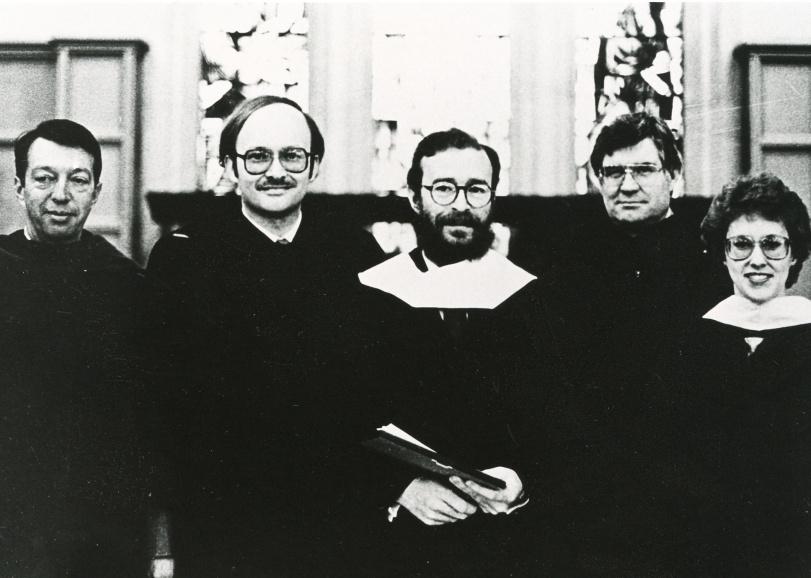 03 De izquierda a derecha, el Presidente del Saint Olaf College, Melvin George; el Doctor León Narváez, Joaquín Díaz, Dr. Frank Odd y Doctora Nancy Paddelford